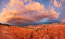 bryce, canyon, sunset, dramatic, storm, sunset, hoodoos, national park photo