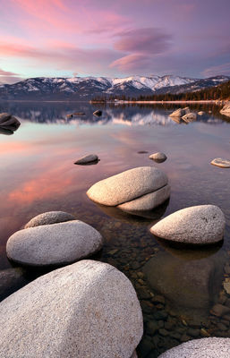 lake tahoe, clear, sunset, beautiful, clouds, pink, boulders, water, nevada, california, sand, harbor, lenticular