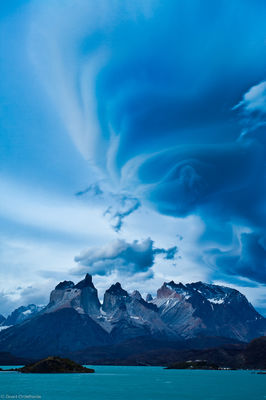 lenticulars, torres, del, paine, chile, cuernos, clouds, famous