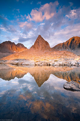 dusy, basin, reflection, isosceles, peak, palisades, alpine, tarn, high, eastern sierra, california, kings canyon, natio