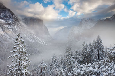 yosemite, valley, winter, national park, california, usa, storm, blanket, white, snow