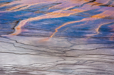 yellowstone, national, park, wyoming, grand prismatic, abstract, reflecting, blue, clouded, skies, pattern