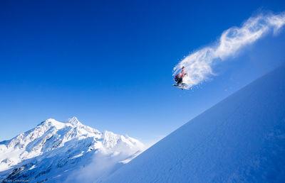 mt. shuksan, backside, one-eighty, snowboarder, baker, washington, usa, grab, method, natural, wind, lip, feature