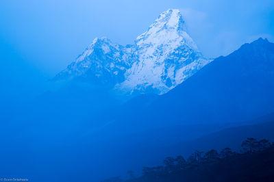 ama dablam, rises, fog, village, tengboche, everest, region, nepal, sagarmatha, national, park, himalaya