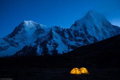 lobuche, east, base camp, sagarmatha, national, park, himalaya, nepal, tents, two, illuminated, taboche, cholatse, tower