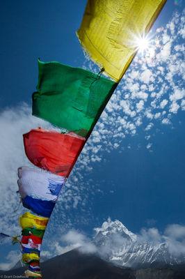 ama dablam, prayer, flags, sagarmatha, national, park, himalaya, nepal, everest, region