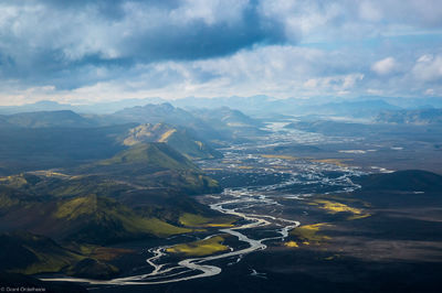 river, deltas, southern, iceland, aerial, view, winding, green, covered, mountains,