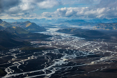 iceland, river, delta, southern, iceland, aerial, image, large, sprawling,