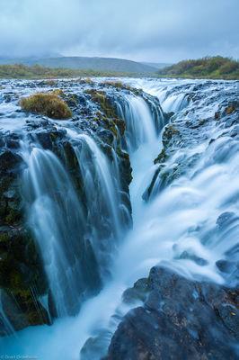 brúarfoss, waterfall, water, pouring, ancient, volcanic, rift, southwestern, iceland,