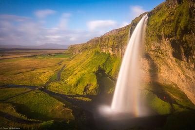 seljandsfoss, Þórsmerkurvegur, Iceland, person, sunset, stands, behind,