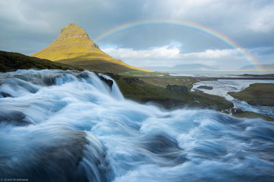 kirkjufell, rainbow, Snæfellsnes , Grundarfjörður, mountain, peninsula, western, iceland, waterfall