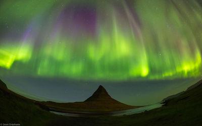 Snæfellsnes ,Grundarfjörður, Iceland, aurora, curtain, colorful, borealis, kirkjufell, moutain, peninsula, western,