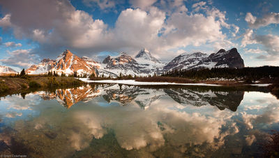 mount assiniboine, canada, british columbia, reflected, small, alpine, tarn, canadian, rockies, provincial, park,