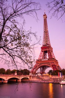 eiffel tower, paris, france, landmark, world, reflected, seine, river