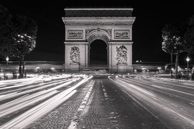 arch de triumph, paris, france, car, lights, famous, arch