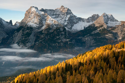 sorapiss, fall, clouds, hike, italy, cadini group, early, morning, peaceful