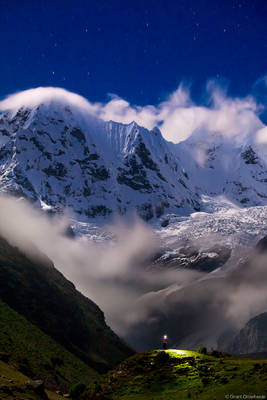huayhuash, night, cordillera, huaraz, peru, lone, trekker, sky, headlamp, rugged, mountain, range