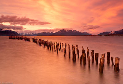 puerto, natales, docks, old, torres, del, paine, vivid, sunset, chile