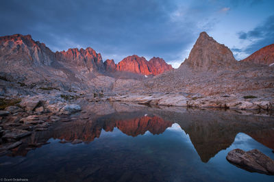palisades, sunset, kings, canyon, national, park, california, usa, mountains, alpine, lake, high, dusy, basin,