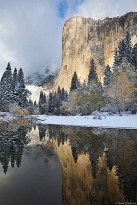 el cap, el capitan, yosemite, national park, california, usa, reflection, merced, river, fall, snowstorm