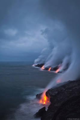 stormy, lava, kalapana, big island, hawaii, flowing, ocean, puu oo, vent