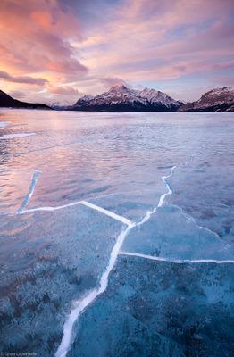 abraham, lake, ice, cracks, fractures, sunrise, canadian, rockies, saskatchewan, plains, alberta, canada
