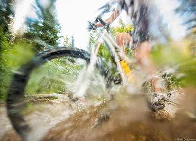 mountain, bike, splash, winter, park, colorado, usa, stream, trail, town