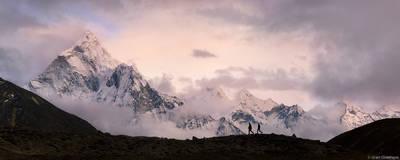 ama dablam, hikers, sagarmatha, national, park, himalaya, nepal, pair, trekkers, everest, region