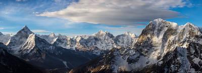 himalayan, panorama, sagarmatha, national, park, himalaya, nepal, early, morning, range, lobuche, east