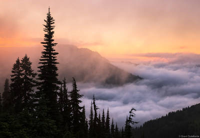 hurricane, ridge, sunset, olympic, national , park, washington, foggy, valley,