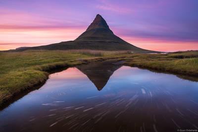 kirkjufell, iceland, sunset, Grundarfjörður, reflected, small, pond, near,