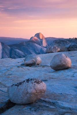 olmstead, sunset, half dome, glacier, erratics, yosemite, national park, california, usa, polished, granite,
