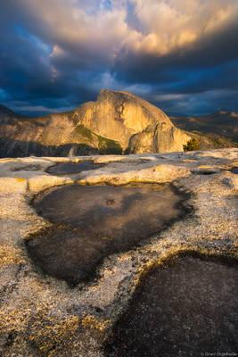 north, dome, sunset, dramatic, half dome, valley, summit, yosemite, national park, california, usa