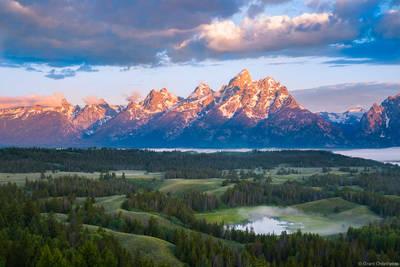 teton, sunrise, grand, teton, national, park, wyoming, usa,