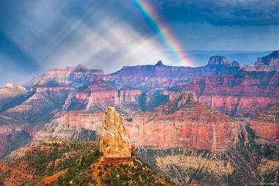 point, imperial, rainbow, grand, canyon, national, park, arizona, usa, summer, monsoon, north, rim,