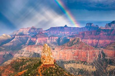 point, imperial, rainbow, grand, canyon, national, park, arizona, usa, summer, monsoon, north, rim,