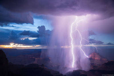 canyon, strike, lightning, bolt, south rim, grand canyon, national park, arizona,