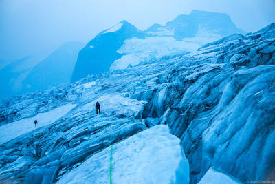 glacier, navigation, bugaboo, provincial, park, british, columbia, canada, two, climbers, navigating, crevasses, climb,