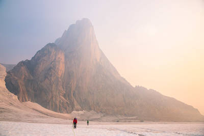 snowpatch, sunrise, bugaboo, provincial, park, british, columbia, canada, two, climbers, approaching, climb, spire,