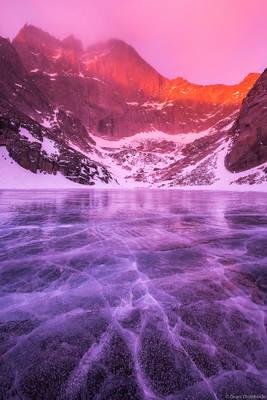 chasm, lake, winter, rocky, mountain, national, park, colorado, usa, stormy, morning, frozen, diamond, face, longs, peak,