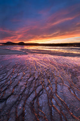 grand, prismatic, yellowstone, sunset, spring, wyoming, usa, national, park,