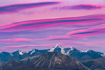lenticular, sunset, denali, national, park, alaska, usa, clouds