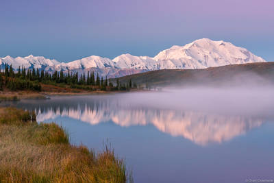 wonder, lake, denali, national, park, alaska, usa, mist, rises, dawn