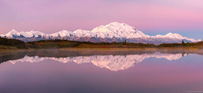 denali, panorama, national, park, alaska, usa, dawn, range, reflected, small, pond,