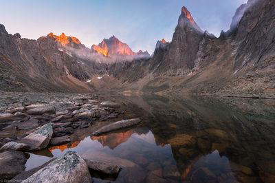 monolith, sunrise, mount, tombstone, territorial, park, yukon, canada,  remote, lake,