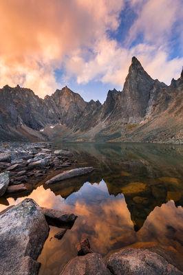 monolithic, sunset, tombstone, territorial, park, yukon, canada, sunset, remote, alpine, lake, rugged,