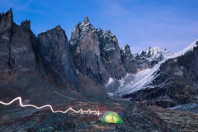 canada, territorial, park, tombstone, yukon, monolith, camp, person, tent, night,