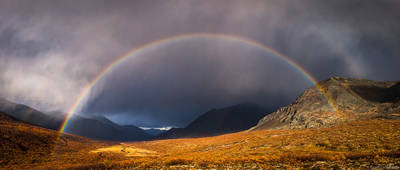 canada, territorial, park, tombstone, yukon, rainbow, full, storm