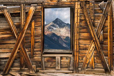 alta, ghost, town, telluride, colorado, usa, wilson, peak, fourteen, thousand, foot, peak, window, dilapidated, building, lakes,