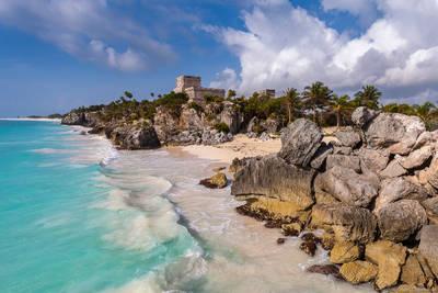 tulum, yucatan, peninsula, mexico, beachside, ruins,